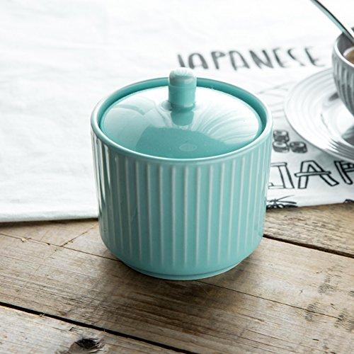 Salt jar ceramic seasoning jarSeasoning jar with lid Salt pot kitchen Sugar bowl Storage tank nordic creative Spice cans-D