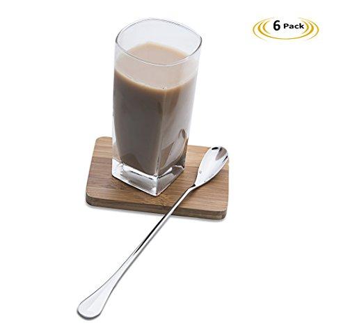 1810 Stainless Steel Iced Tea Spoons with Long Handles9-Inch Ice Cream SpoonCoffee Spoonmilkshake spoonCocktail Stirring SpoonsSet of 6 by OTW PAVILION