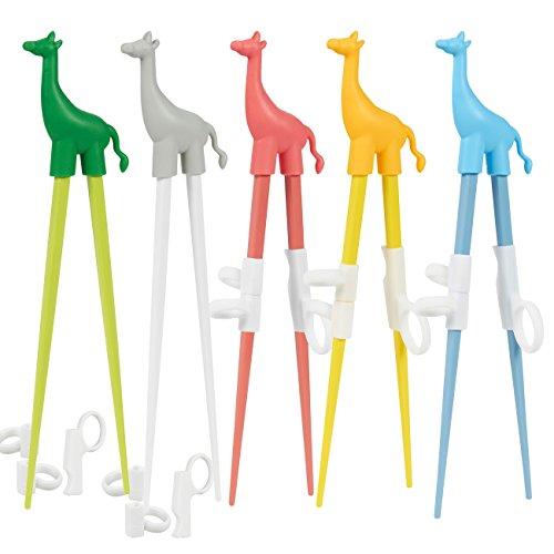 5 Pack Kids Chopsticks - Training Chopsticks for Kids - Cute Giraffe Animal Learning Chopsticks with Training Grips Assorted Colors