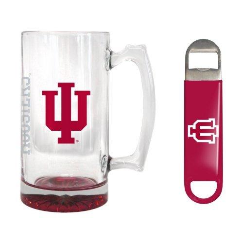 NCAA Indiana - Elite Tankard Bottle Opener Set  Indiana Hoosiers 25 oz Beer Mug Gift Set