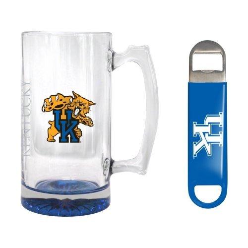 NCAA Kentucky - Elite Tankard Bottle Opener Set  UK Wildcats 25 oz Beer Mug Gift Set