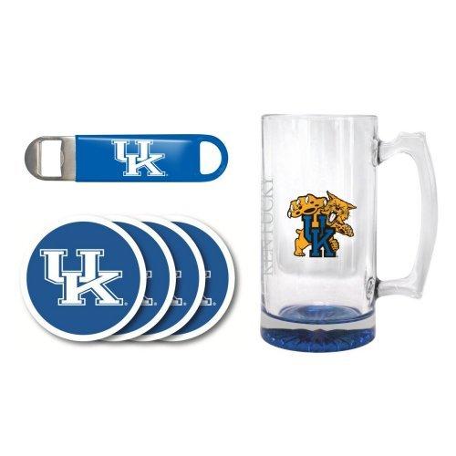 NCAA Kentucky - Elite Tankard Bottle Opener Vinyl Coasters 4 Set  UK Wildcats 25 oz Beer Mug Gift Set