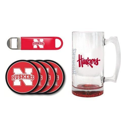 NCAA Nebraska - Elite Tankard Bottle Opener Vinyl Coasters 4 Set  Nebraska Cornhuskers 25 oz Beer Mug Gift Set