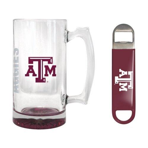 NCAA Texas A&M - Elite Tankard Bottle Opener Set  Texas A&M Aggies 25 oz Beer Mug Gift Set