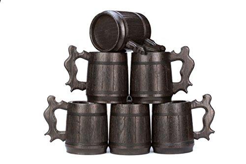 Set of 6 Beer Mugs  Gifts Set of 6 Wooden Beer Mugs  Set of 6 Mugs By WoodenGifts - 06 Litres Or 20oz Wooden Mugs - Set of 6 Coffee Mugs - Set of 6 Stainless Steel Cups Set of 6 Mugs