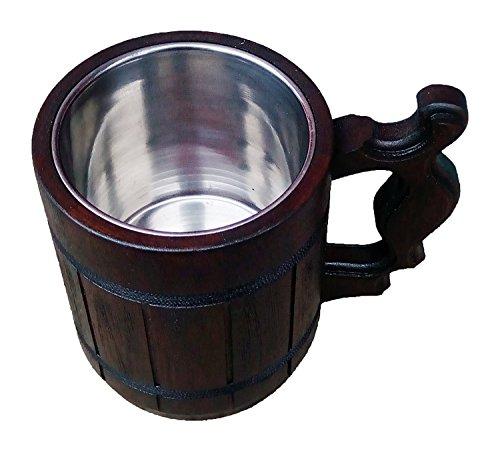 Handmade Beer Mug Oak Wood Stainless Steel Cup Carved Natural Beer Stein Old-Fashioned Brown - Wood Carving Beer Mug of Wood Great Beer Gift Ideas Wooden Beer Tankard for Men Capacity 20oz 600ml