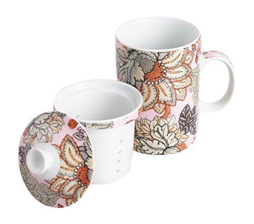 Aerin Floral Inspired Infuser Porcelain Teacup Mug with Lid and Filter - 12 Oz