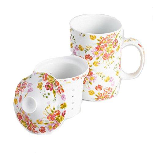 Floral Millie Porcelain Infuser Teacup Mug with Lid and Filter - 12 Oz