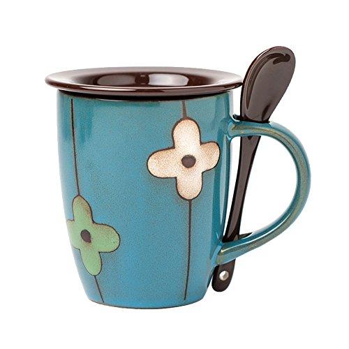 Verdental Retro Ceramic Drum Shaped Coffee Mug with Lid and Spoon Tea Cup Mug Gift Box Blue