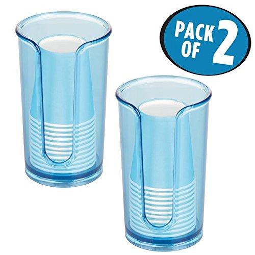 mDesign Disposable Paper Cup Dispenser for Bathroom Counter Tops Vanities - Pack of 2 Ocean Blue