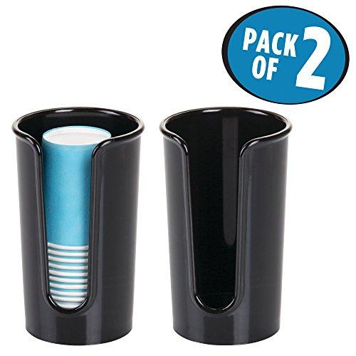 mDesign Disposable Paper Cup Dispenser for Bathroom Vanities - Pack of 2 Black