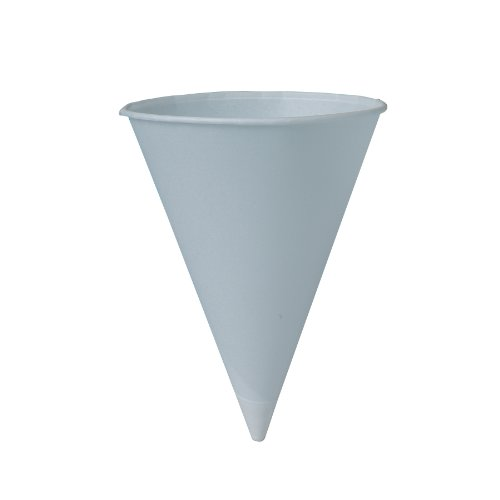 SOLO 8RB-2050 Bare Eco-Forward Treated Paper Cone Water Cup 8 oz Capacity White 10 Packs of 250