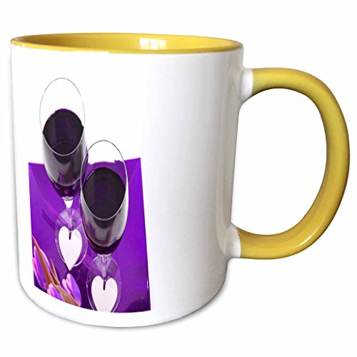 3dRose Yves Creations Roses and Hearts - Purple Wine Glasses With Roses and Hearts - 11oz Two-Tone Yellow Mug mug_20597_8