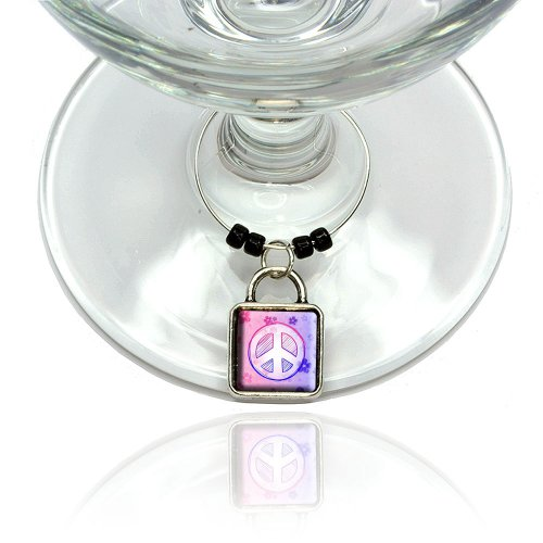 Peace Sign Flowers Pink Purple Wine Glass Drink Marker Charm Ring