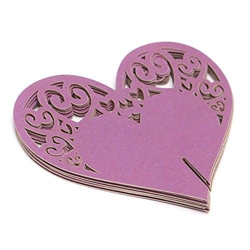 Wine Glass CardPUQU 50Pcs Laser Cut Design Love Heart Invitation Wedding Table Name Place Cards for Party Decoration FavorPurple