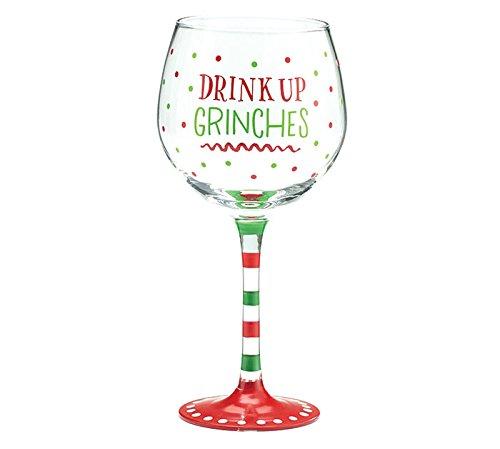 Burton and Burton Holiday Wine Glass Drink Up Grinches 20 oz