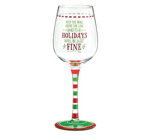 Burton and Burton Holiday Wine Glass Keep The Wine Above The Line 10 oz