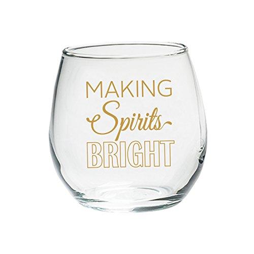 Kate Aspen Making Spirits Bright Stemless Wine Glass 15oz Set of 4 Holiday Glasses