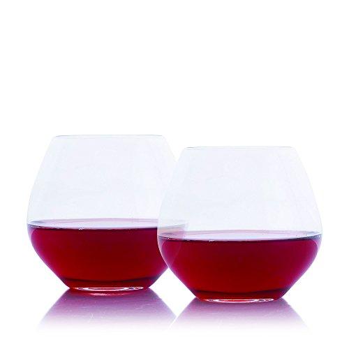 Amoroso Stemless Red Wine Glass 2pc Set By Crystalize 2 Piece Set