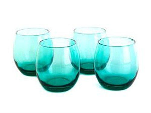 Circleware 4pc Aqua Stemless Red Wine Glasses