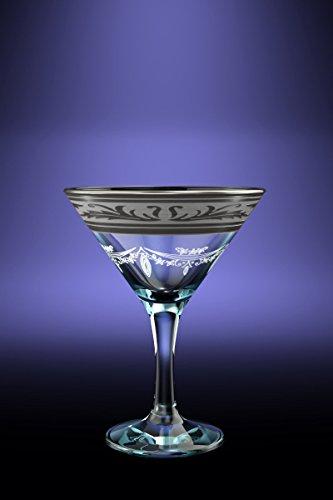Crystal Goose GX-09-410 57 oz Cocktail Martini Glasses with Platinum-Plated Rim Long Stem Cocktail Glasses with Platinum Sputtering 6 Piece Set