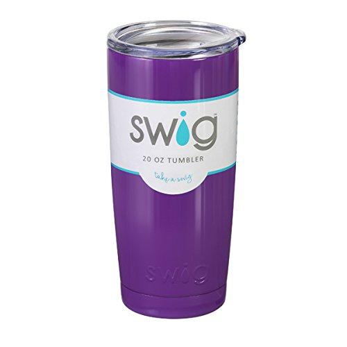 Personalized 20 oz SWIG Purple Vacuum Insulated Tumbler