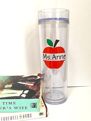 Personalized Tumbler - Teachers Appreciation Gift - Custom Apple Cup 16 oz