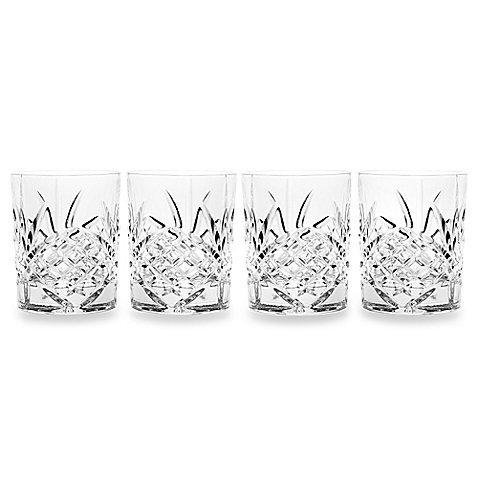 James Scott Double Old Fashioned Crystal Drinking Glasses Set Irish Cut Design - Set of 4 - 8 Oz