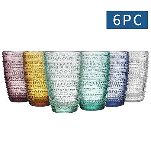 MESHA Beaded Highball Colored Water Glasses 123 oz Dewdrop Heavy Base Glasses Set 360 ml Drinking Glasses Set of 6