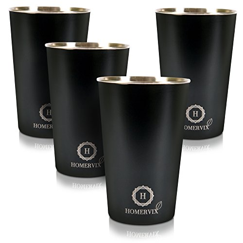 Stainless Steel Drinking Glasses 16 Oz Pint Cups Eco-Friendly and BPA Free Multipurpose Drinking Cups for Outdoors and Everyday Use Kids and Baby Friendly Tumbler Cups 4 Pack
