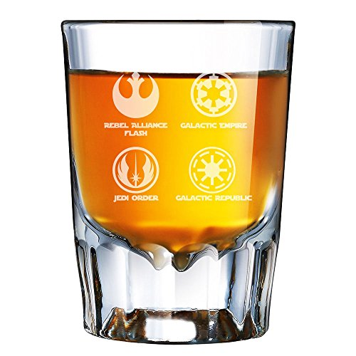 Abby Smith Star Wars Logos Silhouette Engraved Barcraft Fluted Shot Glass - 2pcs