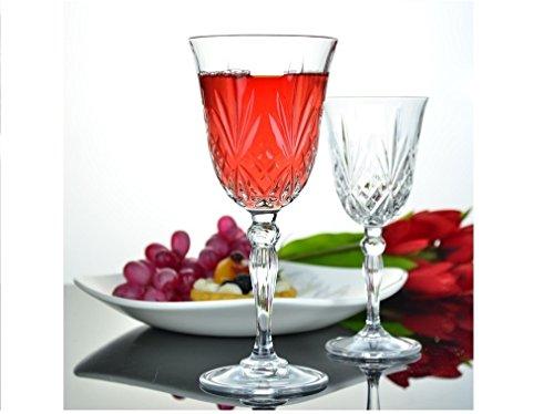 Leraze Sparkling Design Red Chardonnay Wine Goblets Set of 6 Glasses - White