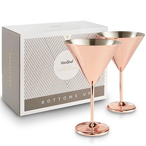 VonShef Set of 2 Stainless Steel Large Martini Cocktail Glasses Set – Copper