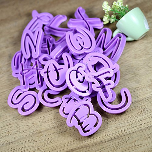 SK 26pcs Alphabet Cutter Number Letters Cutter Set Cookie Plunger Cutter Mold Decorating Tools