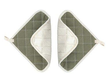 Dual-Side Flame Fire-RetardantTerry Cloth Pot Holder Square Potholders Heat-Resistant 8 x 8 Square - Set of 2