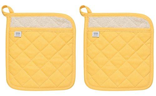 Now Designs Superior Potholders Set of Two Lemon Yellow