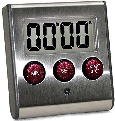Elegant Digital Kitchen Timer Stainless Steel Model eT-23P SUPER Strong Magnetic Back Loud Alarm Large Display Auto Memory Auto Shut-Off eT-23Plum