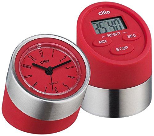 2 Piece Digital Kitchen Timer and Clock Set Color Red