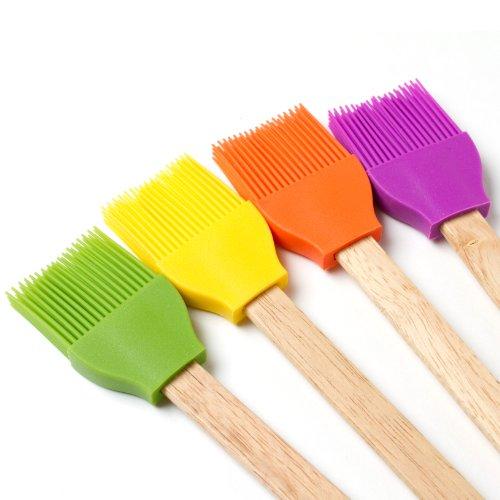 Cooks Corner Silicone and Wood Basting Brush Set of 4