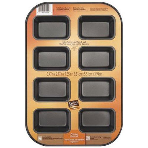 Bakers Secret 1114433 Essentials 8-Well Loaf Pan Mini