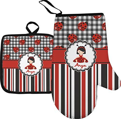 Ladybugs Stripes Oven Mitt Pot Holder Personalized