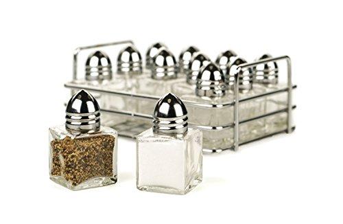 RSVP 12 Piece Mini Salt and Pepper Shaker Set with Rack