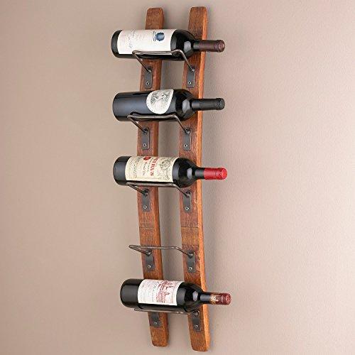 5-Bottle Brown Barrel Stave Wall Wine Rack