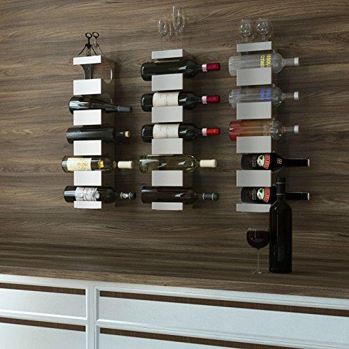 Set of 3 Stainless Steel Wine Rack - Wide Multi Bottle Holder with Top Shelf Section - Modern Art Design - Wall Mount Holds 15 Bottles