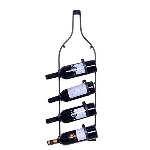 WELLAND Wall Mount Bottle Shaped Metal Wine Rack Holds 4 Wine Bottles