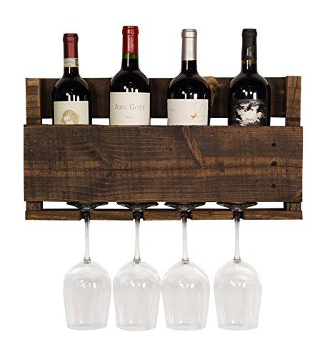 del Hutson Designs  - The Little Elm Wine Rack USA Handmade Reclaimed Wood Wall Mounted 4 Bottle 4 Long Stem Glass Holder Ebony