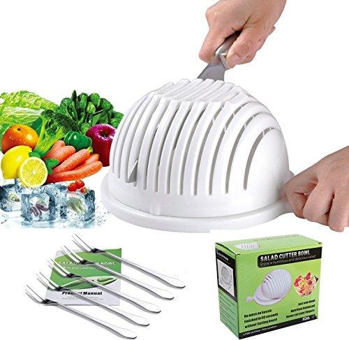 Salad Cutter Bowl - Best Salad maker Vegetable chopper Salad shooter Cutter for Lettuce or Salad chopper for Salad in 60 Seconds with 5 PCS Stainless Steel Forks White