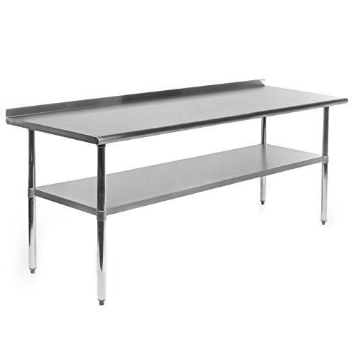 Gridmann NSF Stainless Steel Commercial Kitchen Prep Work Table w Backsplash - 72 in x 24 in
