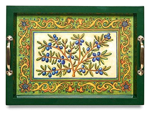 Medium Wooden Serving Tray wBrass Handles 1775 X 119 Mediterranean Tuscan Olive  Italian Design Blue Green Yellow Home Decor 10 High