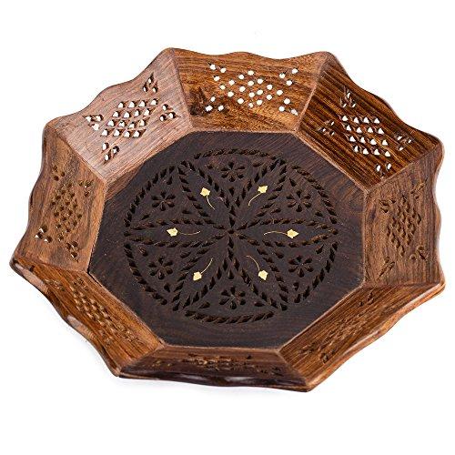 Rusticity Wooden Serving Tray Round - Brass Meshwork  Handmade  Medium